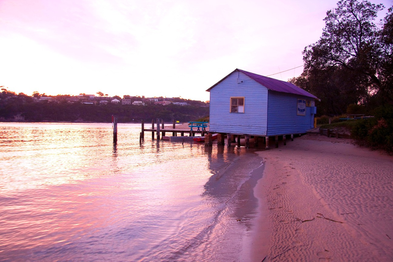 Boatshed Merimbula River mouth at dawn