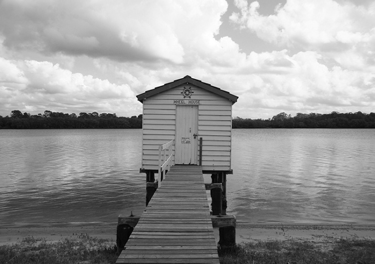 Boat shed Maroochydore River in black and white
